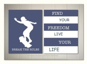 art, boy room art, skateboard poster, motivational skateboard quotes ...