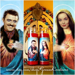 Saint Gomez and Morticia Addams Prayer Candle Set, Patron Saints of ...