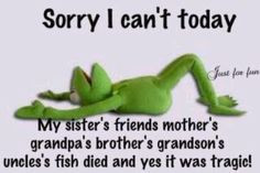 Sorry, I can't today.. Kermit the Frog. Funny excuse. More