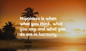 ... , what you say, and what you do are in harmony. – Mahatma Gandhi