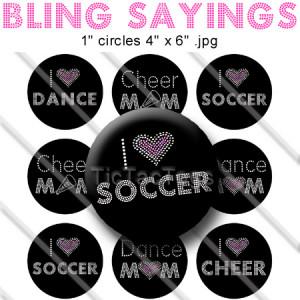 Bling Sayings Bottle Cap Images I Heart Soccer Dance Cheer Mom Digital