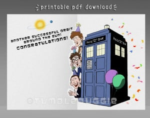 Doctor Who Happy Birthday Card Doctor who anniversary card or