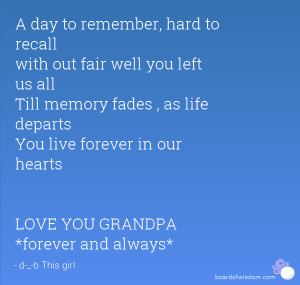 day to remember, hard to recall with out fair well you left us all ...