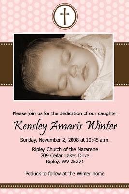 Kensley's Baby Dedication Invitation