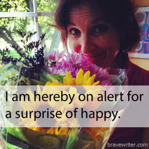 Julie Flowers - surprise of happy quote