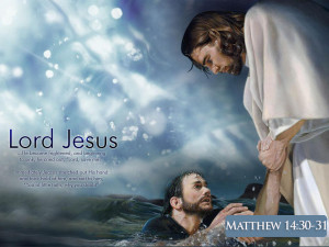 Jesus Picture Saving Peter From Drowning With Scripture Matthew 14-30 ...