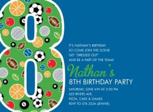8th Birthday Sports Blue Birthday Invitations