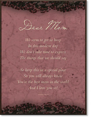 Dear Mom in Heaven Poem