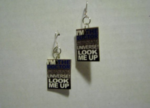 Doctor Who Fish Hook Library Quote Fish Hook Earrings