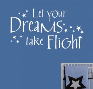 Vinyl Wall Lettering Words Quotes Nursery Dreams take Flight block