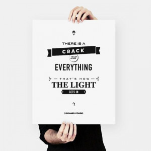 Leonard Cohen Quote literary art Wisdom Typography by MessProject, € ...