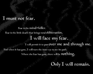... display this tattoo. The Bene Gesserit Litany Against Fear - Dune