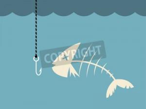 Cartoon Dead Fish in Water