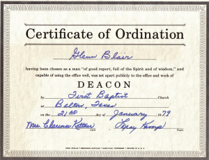 Baptist Deacon Ordination Certificate
