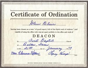 Baptist deacon quotes quotesgram for Deacon ordination certificate template