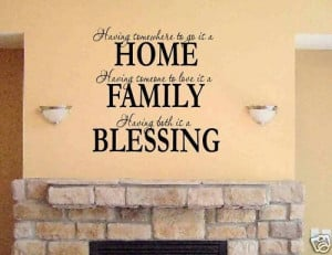 Vinyl lettering HOME FAMILY BLESSING word quote wall. I already have ...