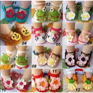 Início sapatos de crochê bebê/12 modelos