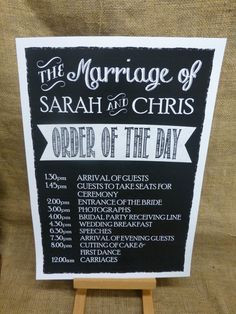 Personalised A3 WEDDING ORDER OF THE DAY SIGN Vintage Chalkboard style ...