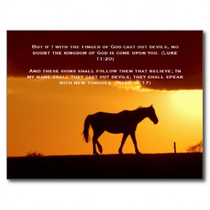Bible verses, a horse in the sunset postcard