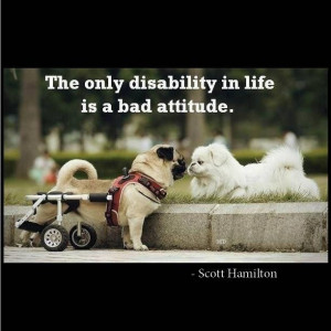 The only disability in life is a bad attitude. Inspirational quote.