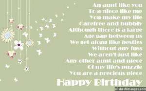 Birthday card poem to aunt from niece