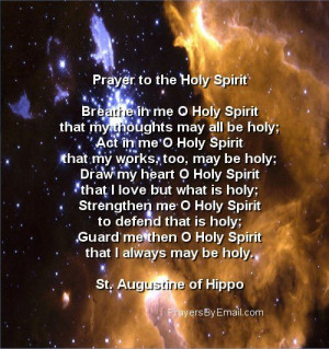 St. Augustine of Hippo's Prayer to the Holy Spirit