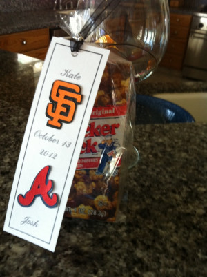 Wedding favor - Peanuts & Cracker Jacks- bookmark with Bride & Grooms ...
