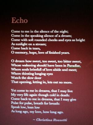 Christina Rossetti, Echo