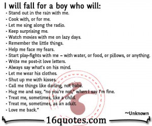 will fall for a boy (Boyfriend) who will: