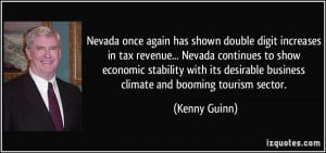 Nevada once again has shown double digit increases in tax revenue ...
