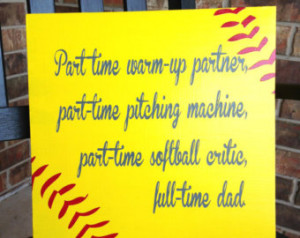 Custom Wood Sign - Softball Dad- Hand Painted Typography Word Art Home ...