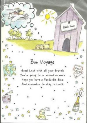 Top / Leaving, Goodbye Cards / Leaving / Goodbye Card - Bon voyage