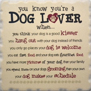 Favorite Dog Sayings Coaster Set 1752 - You Know Youre a Dog Lover ...