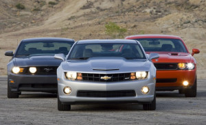 2010 Chevy Camaro SS vs. 2010 Ford Mustang GT, 2009 Dodge Challenger R ...