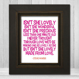 Lovely Nursery Print 8x10 - Song Lyric Nursery Print - Stevie Wonder ...