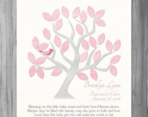 Dedication Gift Baby Girl Baptism B lessing Quote Personalized Name ...