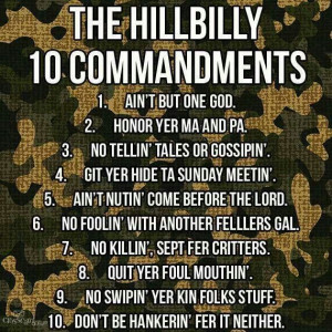 Hillbilly 10 Commandments