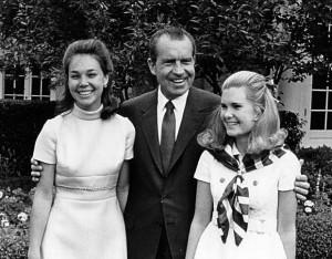 Nixon Cox and Julie Nixon Eisenhower with their father President Nixon ...