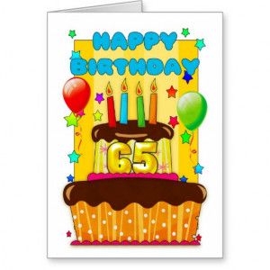birthday cake with candles - happy 65th birthday greeting card