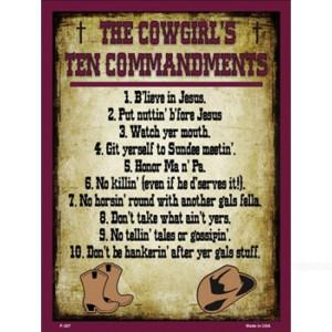 Cowgirls Ten Mandments