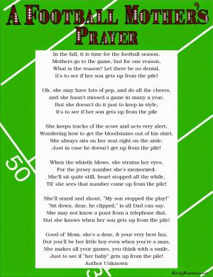 Football Mother's Prayer Poem Free Printable