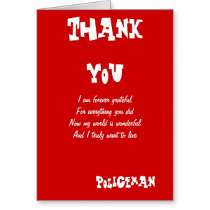 Police officer thank you cards