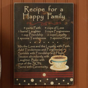 Recipe For A Happy Family Plaque