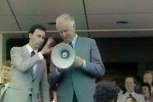 Paul Keating hands megaphone to Gough Whitlam