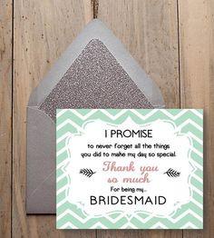 my bridesmaid bridesmaid thank you gift chevron style digital wedding ...