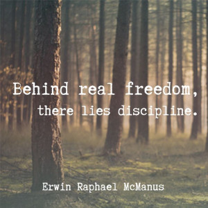 Erwin McManus inspirational quote freedom discipline