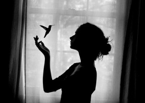 bird, black and white, girl, photography, pretty, shadow