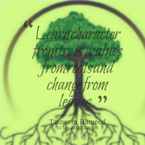 ... learn character from trees, values from roots and change from leaves