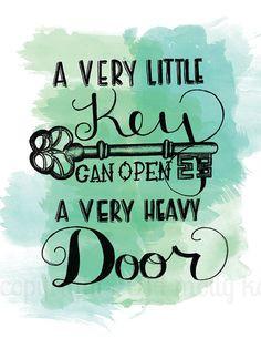 ... Very Little Key Can Open A Very Heavy Door Green Watercolor Key Art