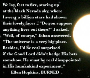 The Ellen Hopkins Sunday Quote of the Day is from BURNED